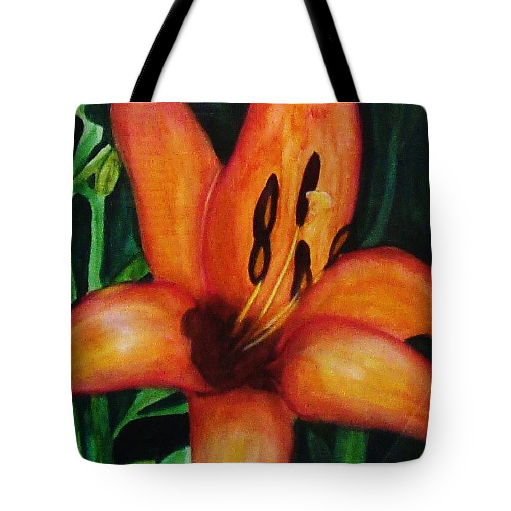 Flower Paintings Tote Bag featuring the painting Beautiful Lily Flower by Yael VanGruber