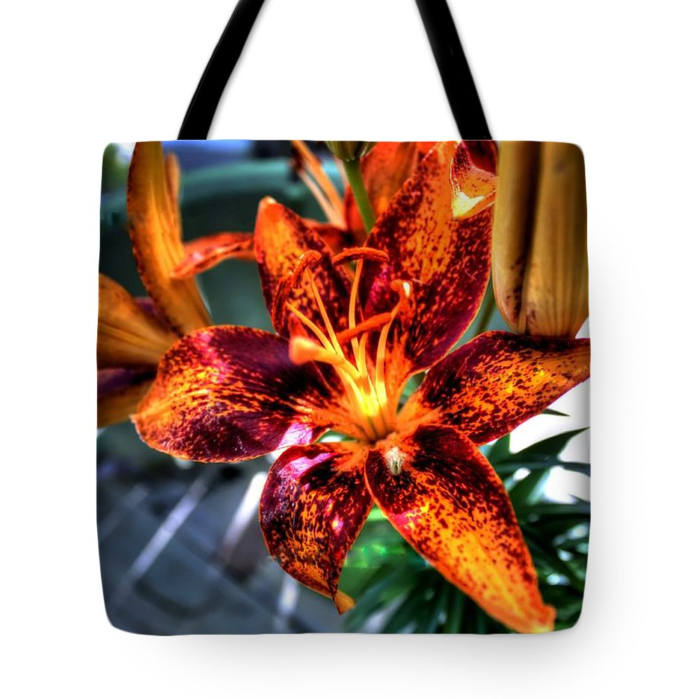 Lilly Tote Bag featuring the photograph Orange Lilly by Debra Forand