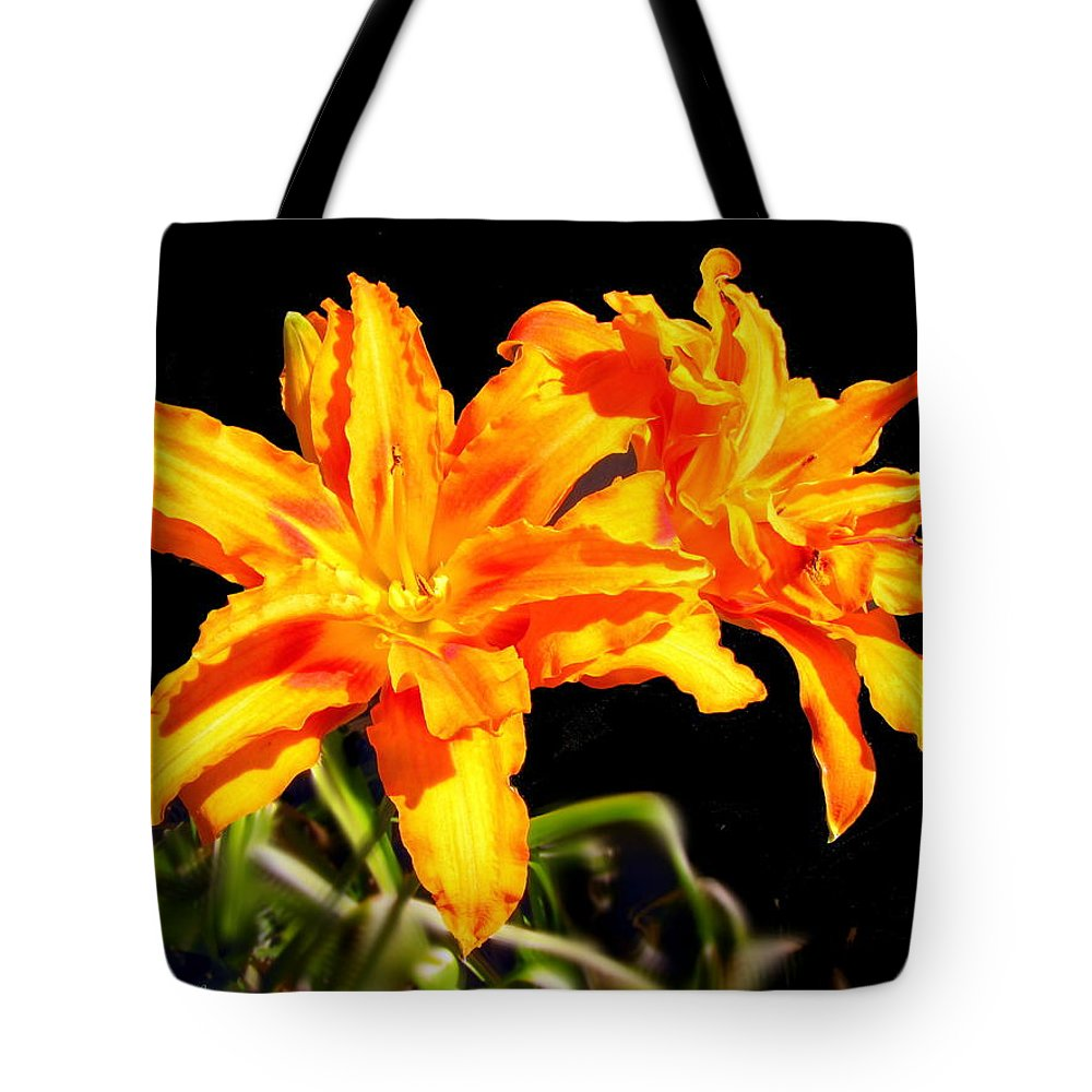 Lily Tote Bag featuring the photograph Orange Lily Twins by Joyce Dickens