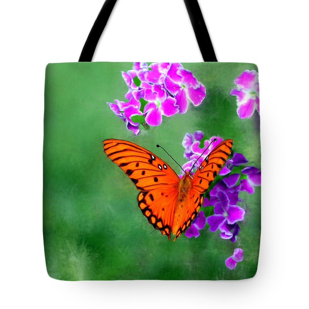 Orange Tote Bag featuring the painting Orange Monarch Butterfly by Bruce Nutting