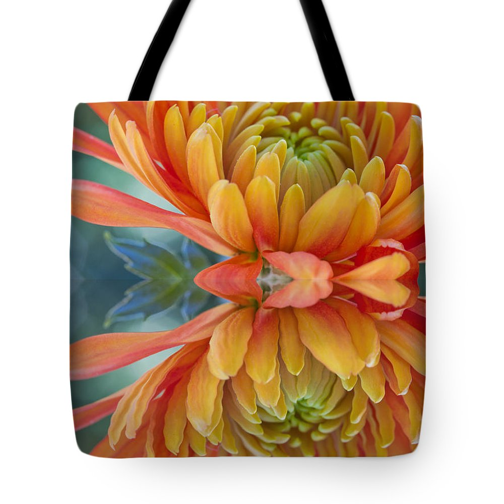 Autumn Tote Bag featuring the photograph Orange Mum's Watery Reflection by Heidi Smith