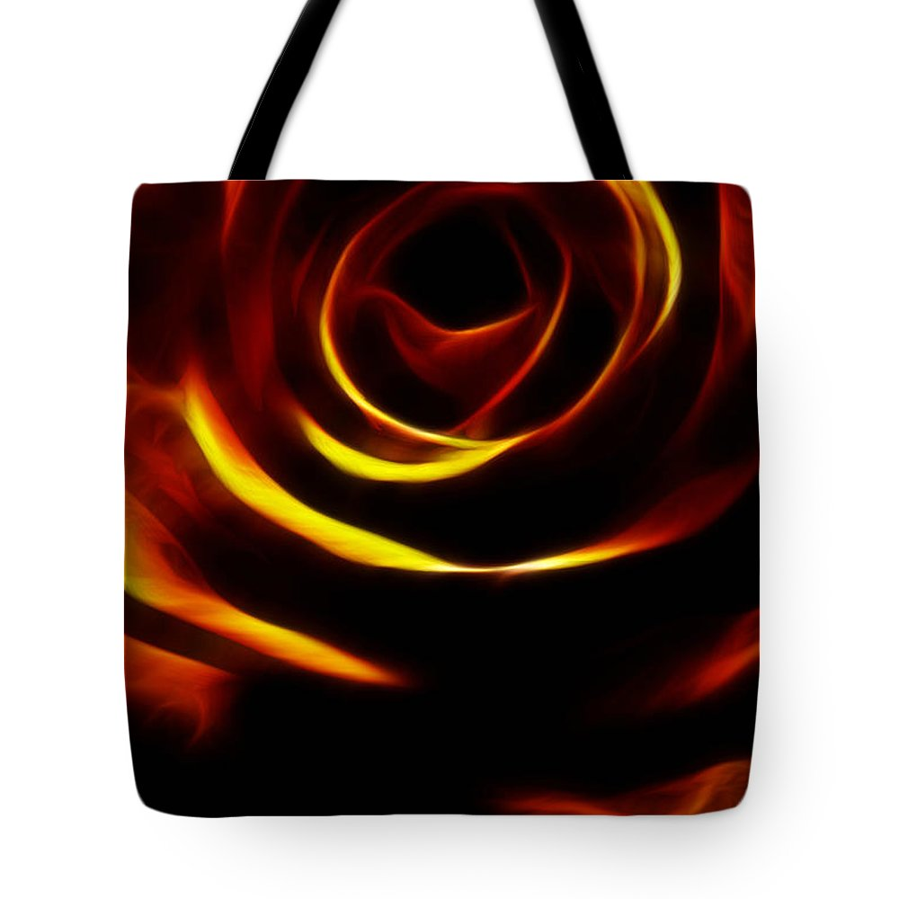 Rose Tote Bag featuring the photograph Orange Passion Rose by Music of the Heart