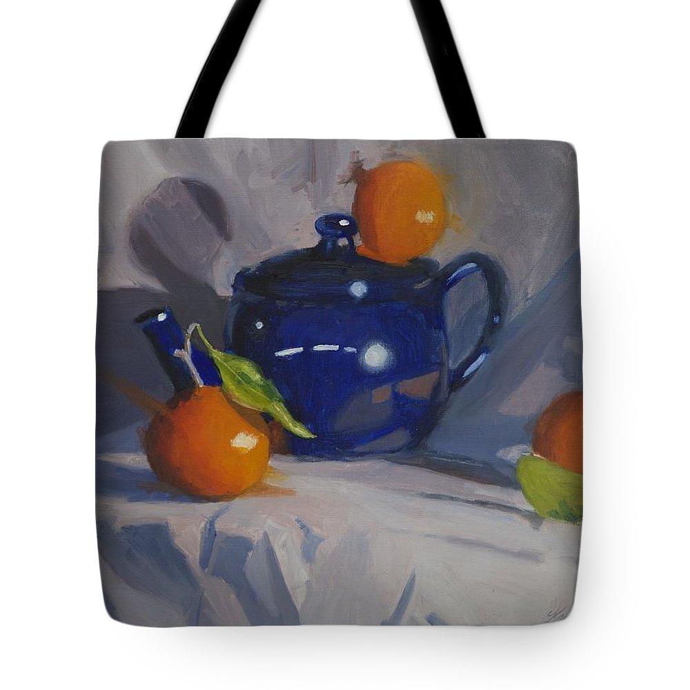 Still Life Tote Bag featuring the painting Orange Pekoe Tea by Karen Fess
