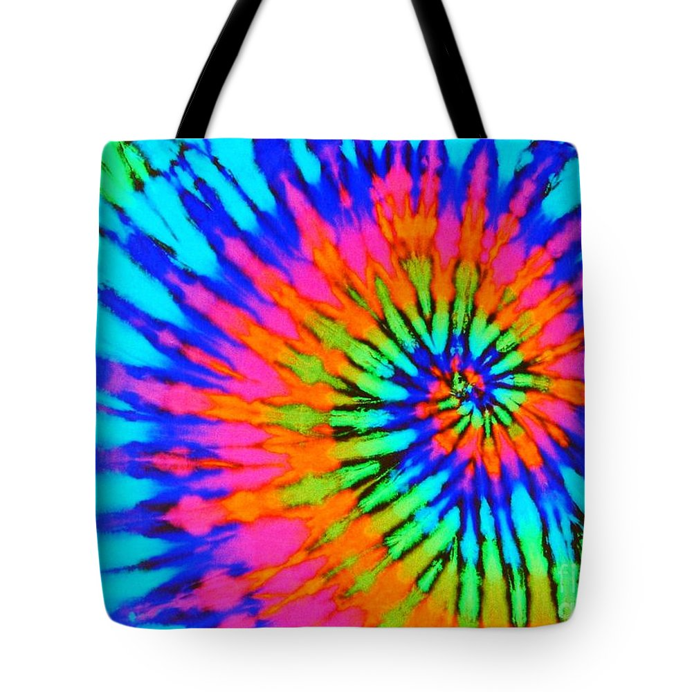 30310c75 Tie-dye Tote Bag featuring the photograph Orange Pink And Blue Tie Dye  Spiral by