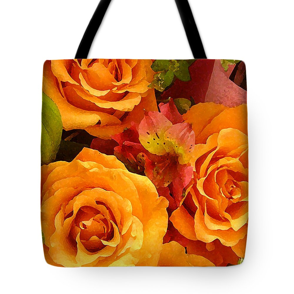 Roses Tote Bag featuring the painting Orange Roses by Amy Vangsgard