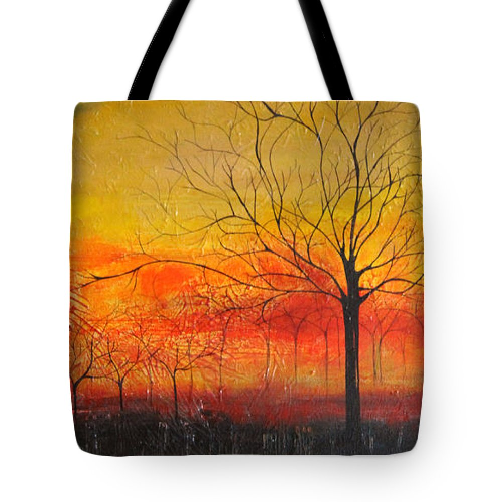 Orange Tote Bag featuring the painting Orange Sky by Mantra Y