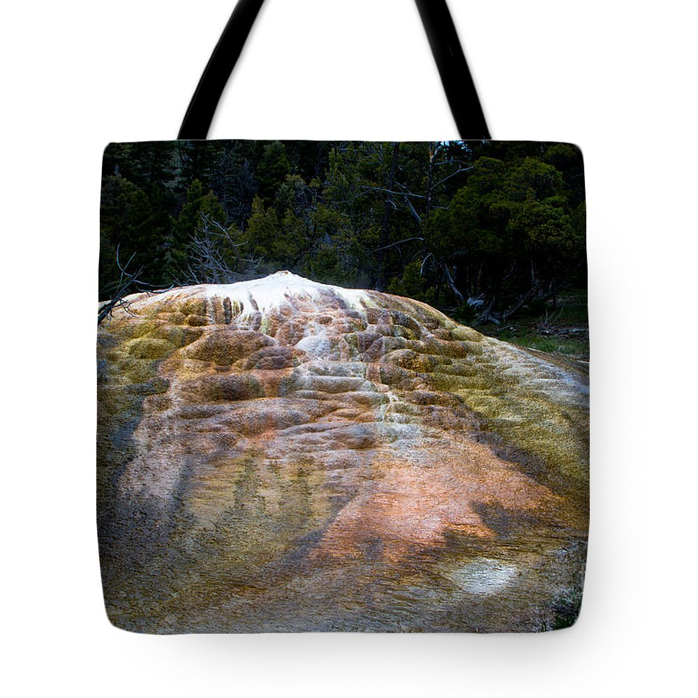 Hot Spring Terraces Tote Bag featuring the photograph Orange Spring Mound #2 by Dan Hartford