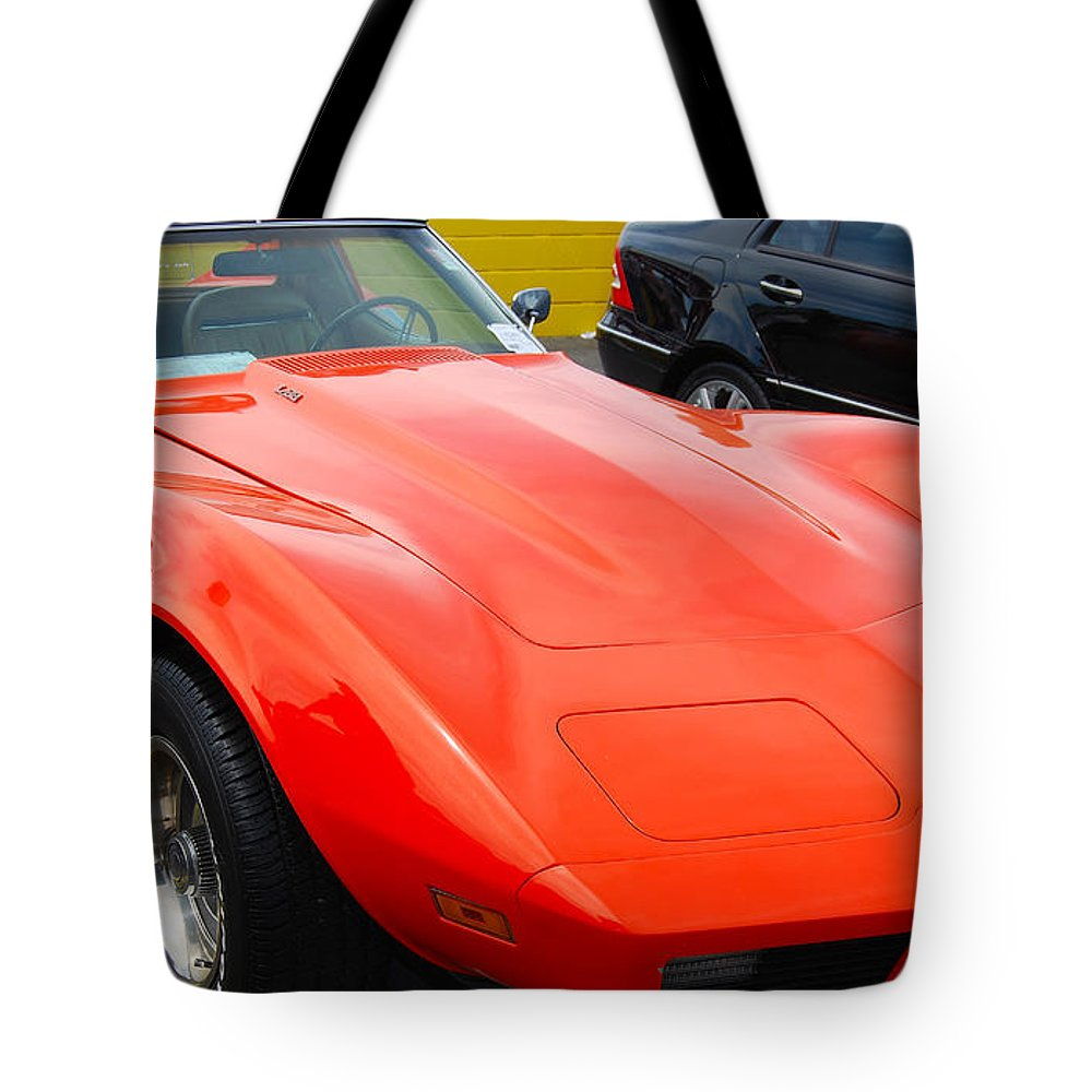 American Muscle Car Tote Bag featuring the photograph Orange Stingray by Mark Spearman