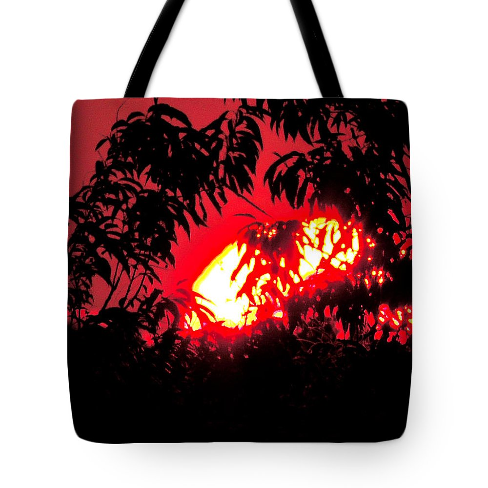 Sunset Tote Bag featuring the photograph Orange Sunset by Nancy Wagener
