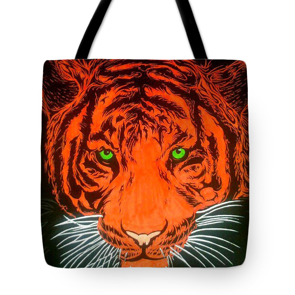 Wildlife Tote Bag featuring the drawing Orange Tiger by Justin Moore