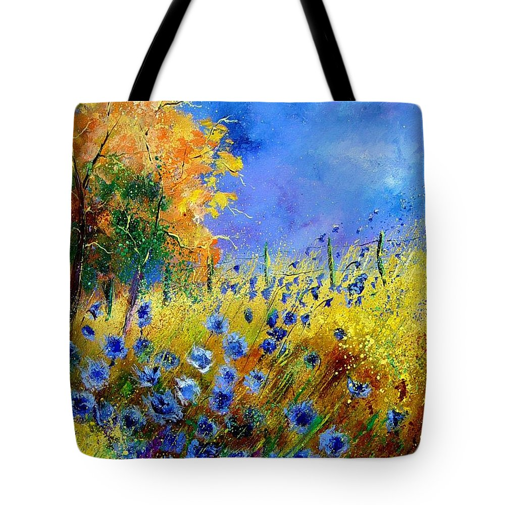 Poppies Tote Bag featuring the painting Orange Tree And Blue Cornflowers by Pol Ledent