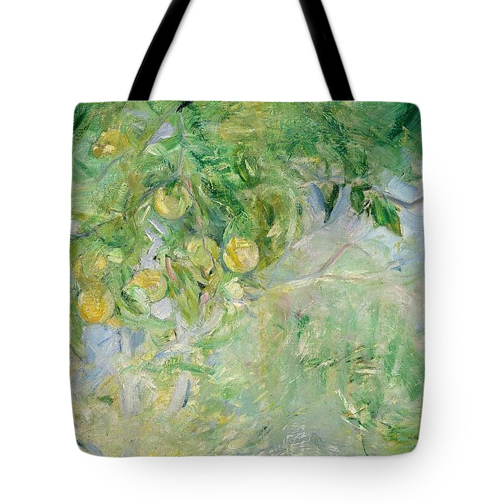 Branches D'oranger; Impressionist; Fruit; Oranges; Summer; Sunlight; Orange Tote Bag featuring the painting Orange Tree Branches by Berthe Morisot