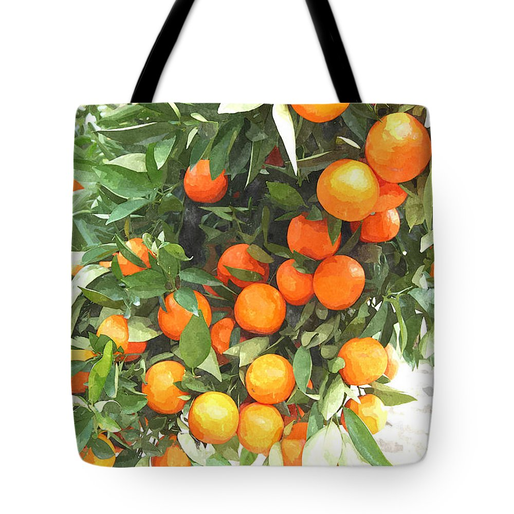 Agricultural Tote Bag featuring the painting Orange Trees With Fruits On Plantation by Jeelan Clark