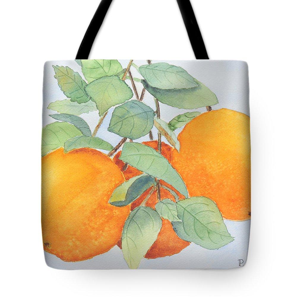 Orange Tote Bag featuring the painting Orange Trio by Patricia Novack