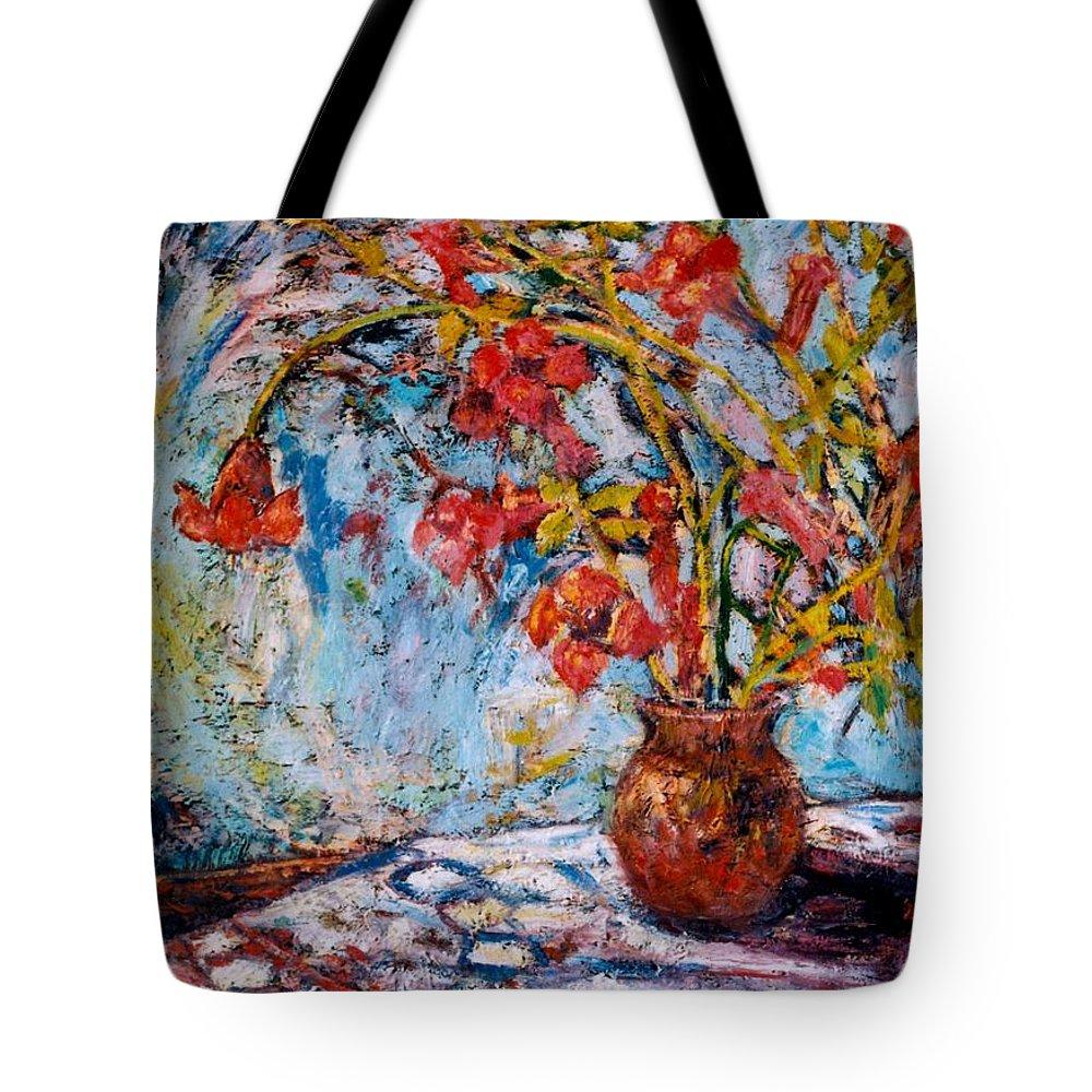 Trumpet Flowers Tote Bag featuring the painting Orange Trumpet Flowers by Kendall Kessler