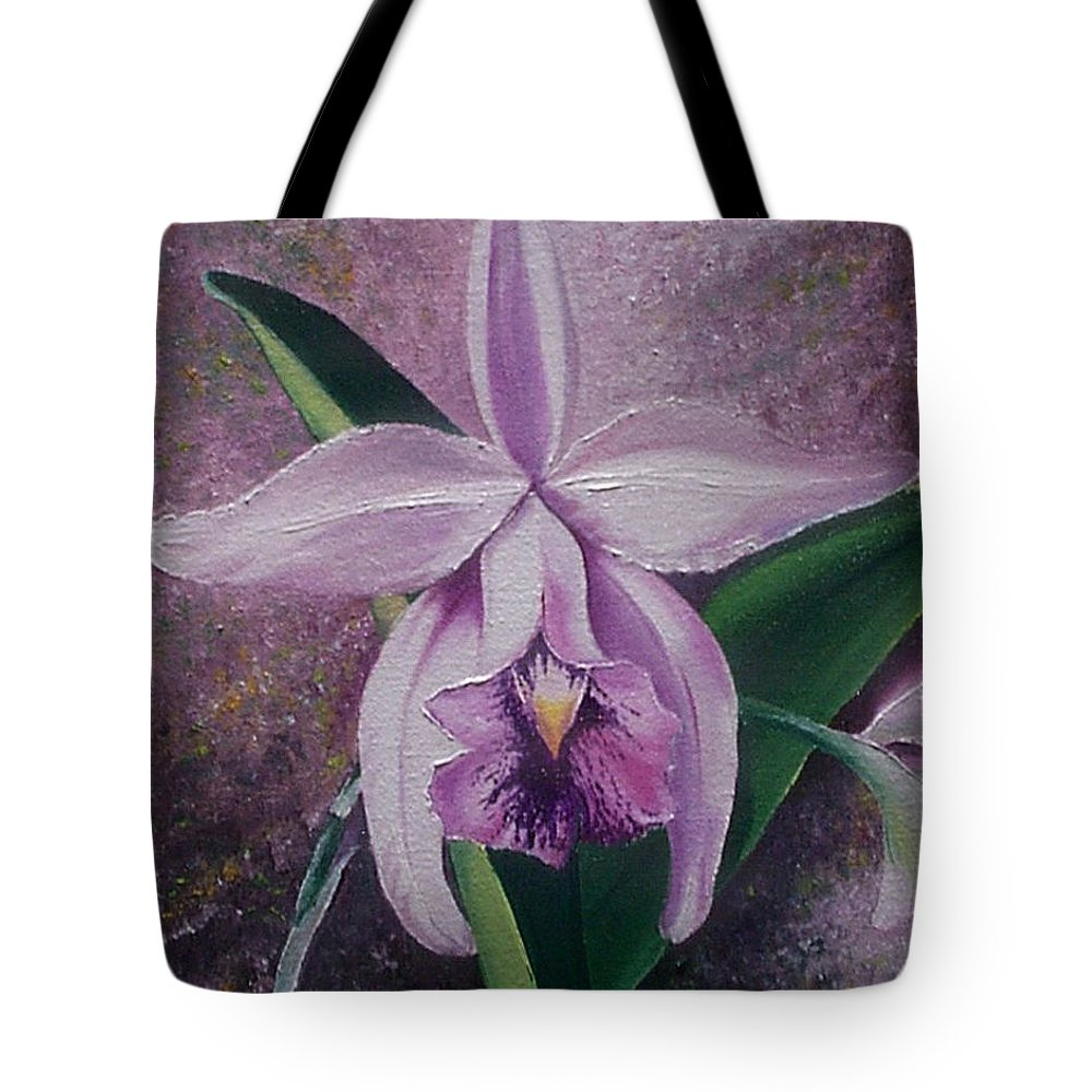 Orchid Purple Floral Botanical Tote Bag featuring the painting Orchid Lalia by Karin Dawn Kelshall- Best