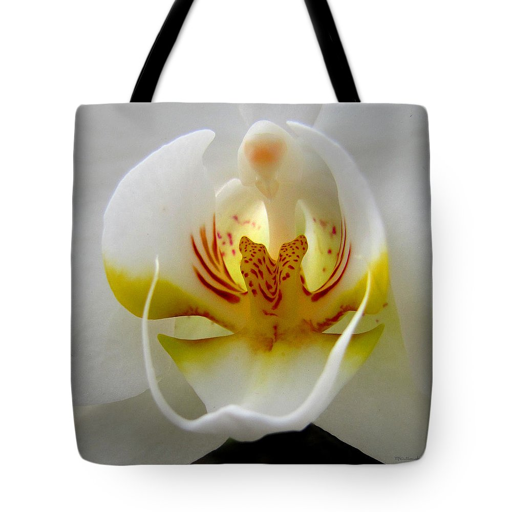 Duane Mccullough Tote Bag featuring the photograph Orchid Upclose Abstract by Duane McCullough
