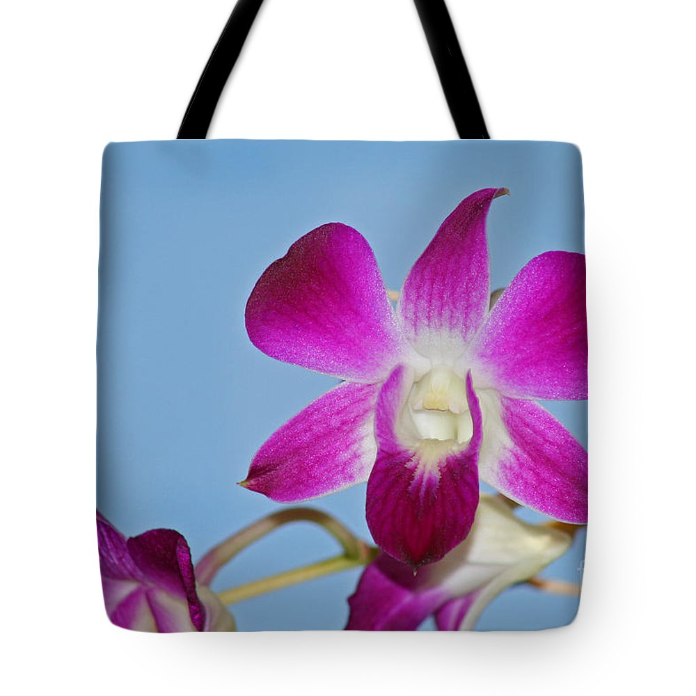 Orchid Tote Bag featuring the photograph Orchids With Blue Sky by Karen Adams