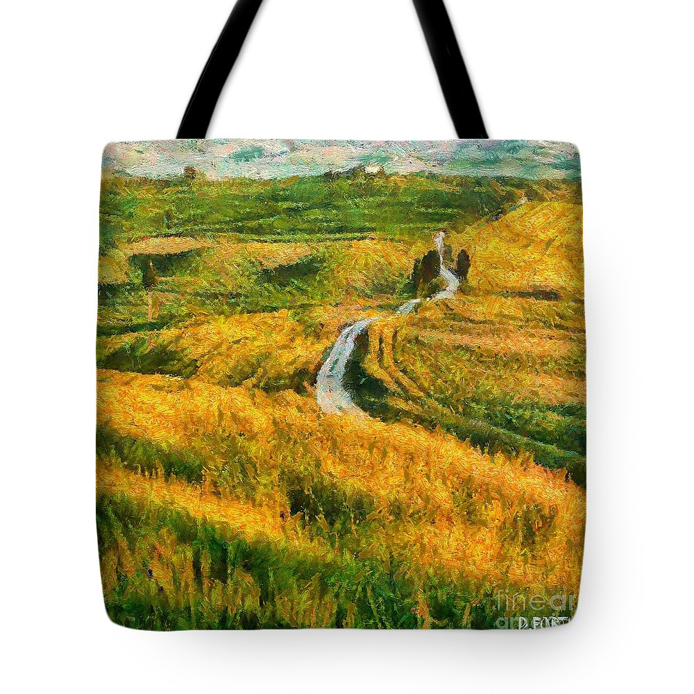 Val D'orcia Tote Bag featuring the painting Orcia Valley by Dragica Micki Fortuna