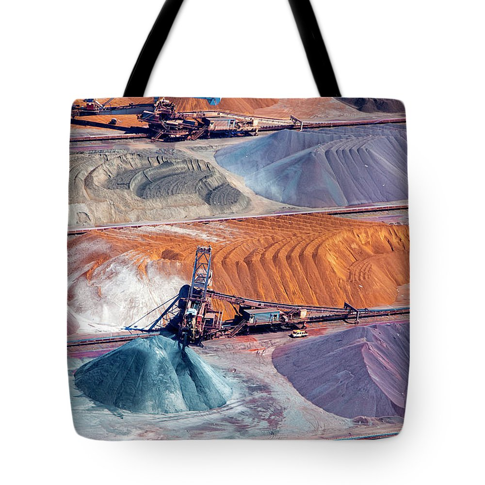 Orange Color Tote Bag featuring the photograph Ore And Conveyor Belt Aerial by Opla