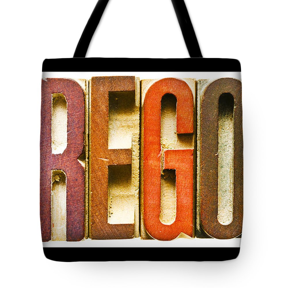 Oregon Tote Bag featuring the photograph Oregon Antique Letterpress Printing Blocks by Donald Erickson