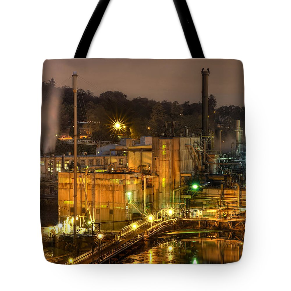Industrial Tote Bag featuring the photograph Oregon City Electricity Power Plant At Night by David Gn