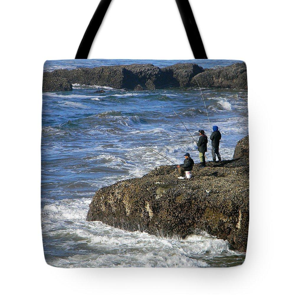 Oregon Coast Tote Bag featuring the photograph Oregon Coast Fishermen by Gary Olsen-Hasek