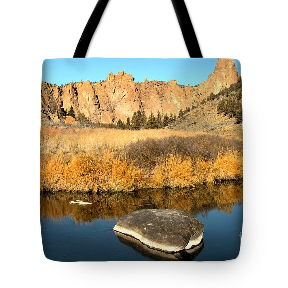 Smith Rock Tote Bag featuring the photograph Oregon River Rock Reflections by Adam Jewell