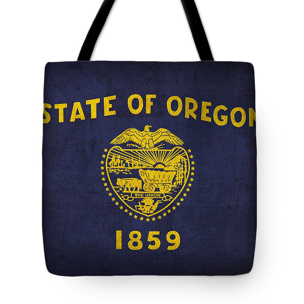 Oregon State Flag Art On Worn Canvas Tote Bag featuring the mixed media Oregon State Flag Art On Worn Canvas by Design Turnpike