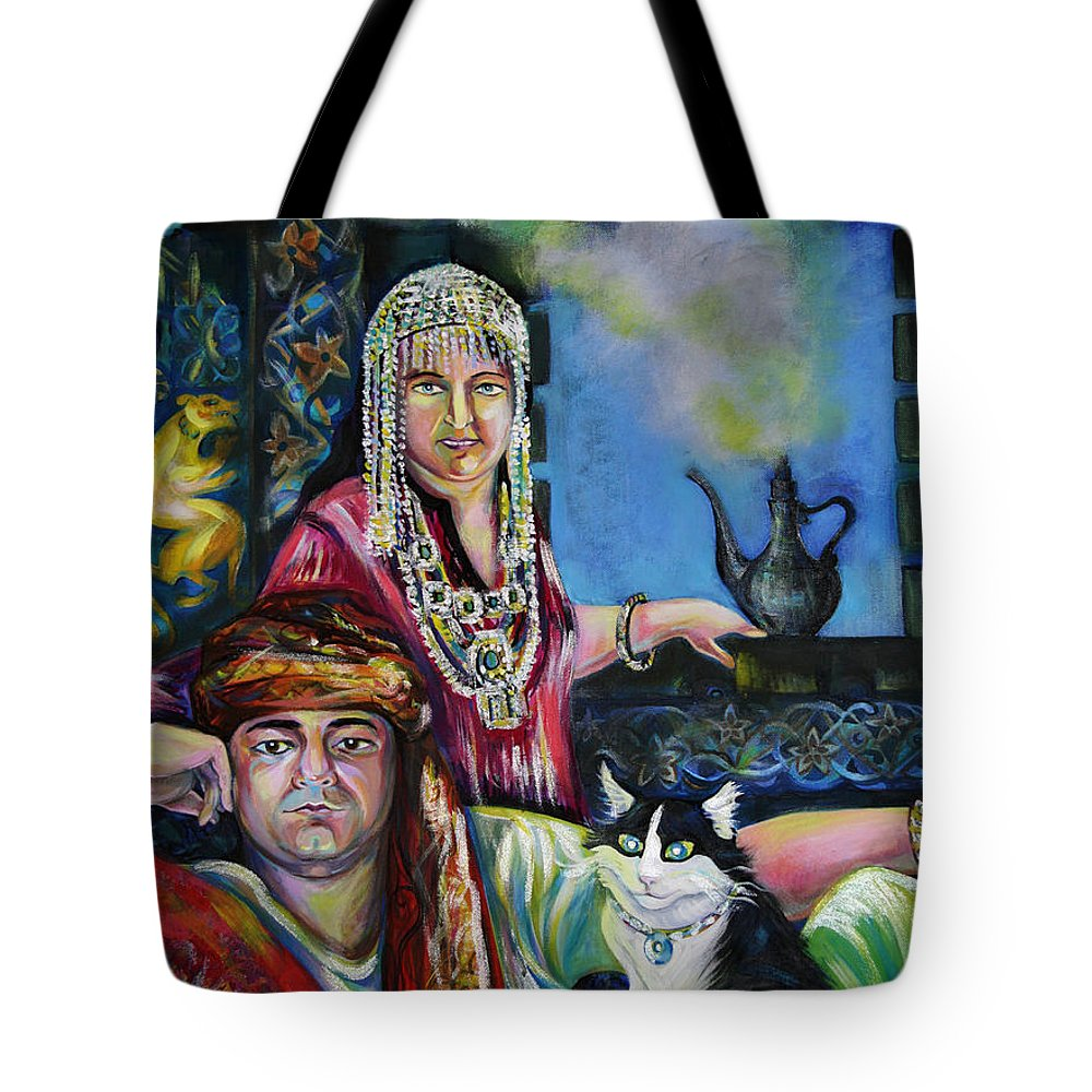 Group Portrat Tote Bag featuring the painting Oriental Fairy Tale. First Part by Anna Duyunova