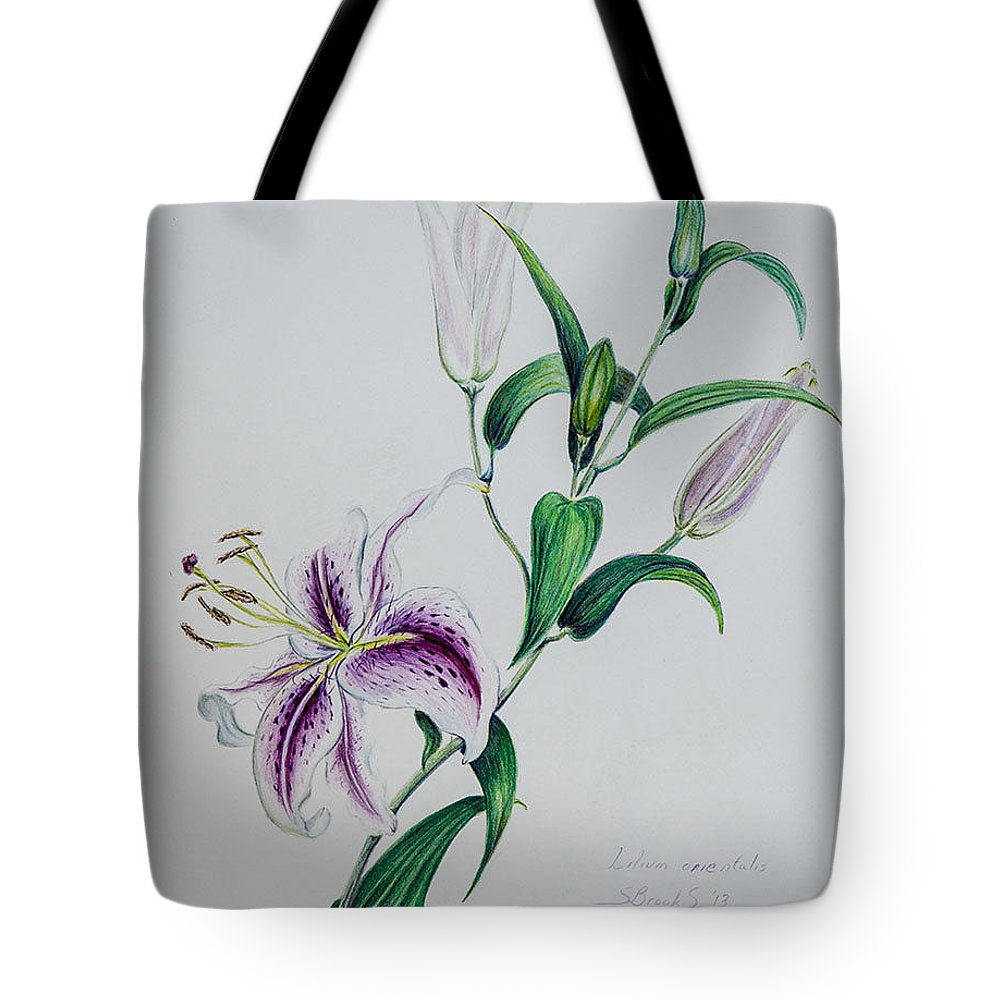 Botanical Tote Bag featuring the painting Oriental Lily by Sandy Brooks