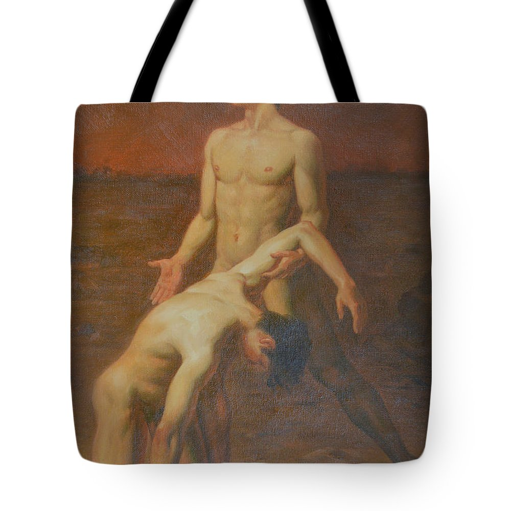 Original Tote Bag featuring the painting Original Classic Oil Painting Body Art - Two Male Nude- 034 by Hongtao Huang