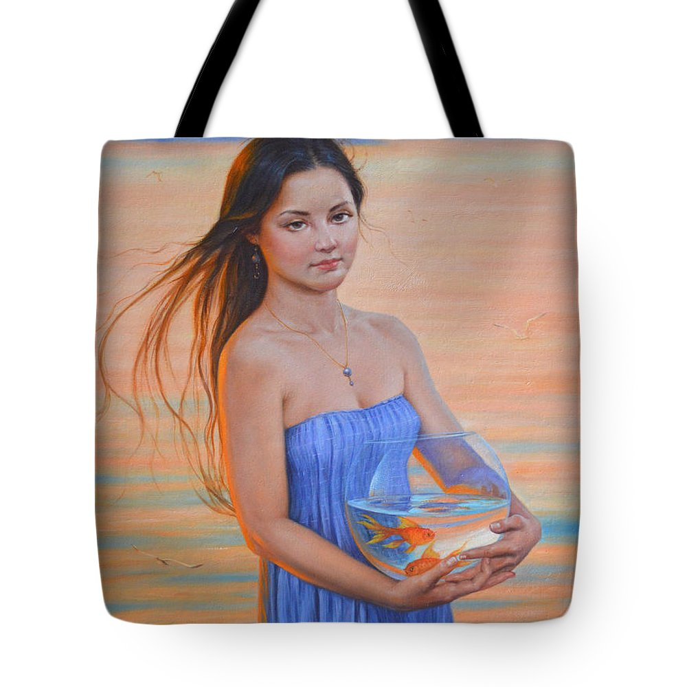 Original Tote Bag featuring the painting Original Classic Oil Painting Girl Art- Chinese Beautiful Girl And Goldfish by Hongtao Huang