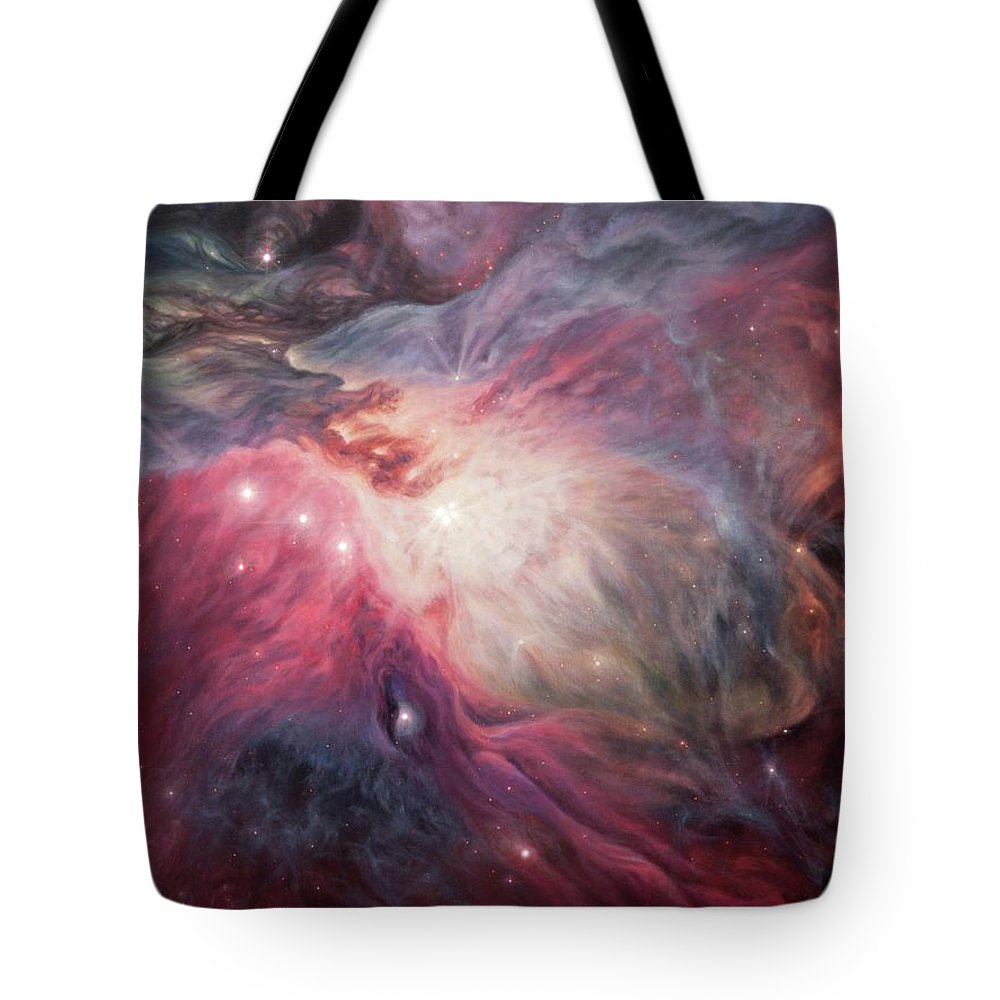 Orion Nebula Tote Bag featuring the painting Orion Nebula M42 by Lucy West