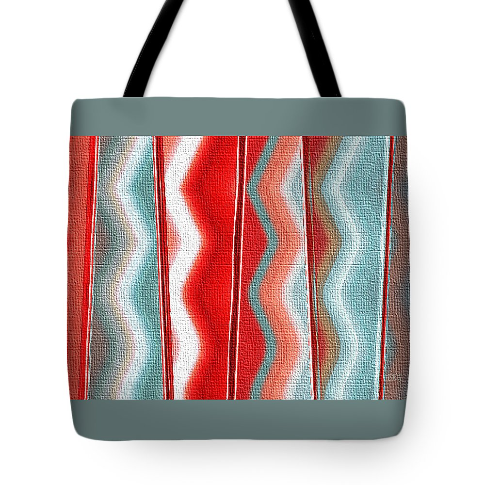 Geometric Abstract Tote Bag featuring the digital art Ornament by Ben and Raisa Gertsberg