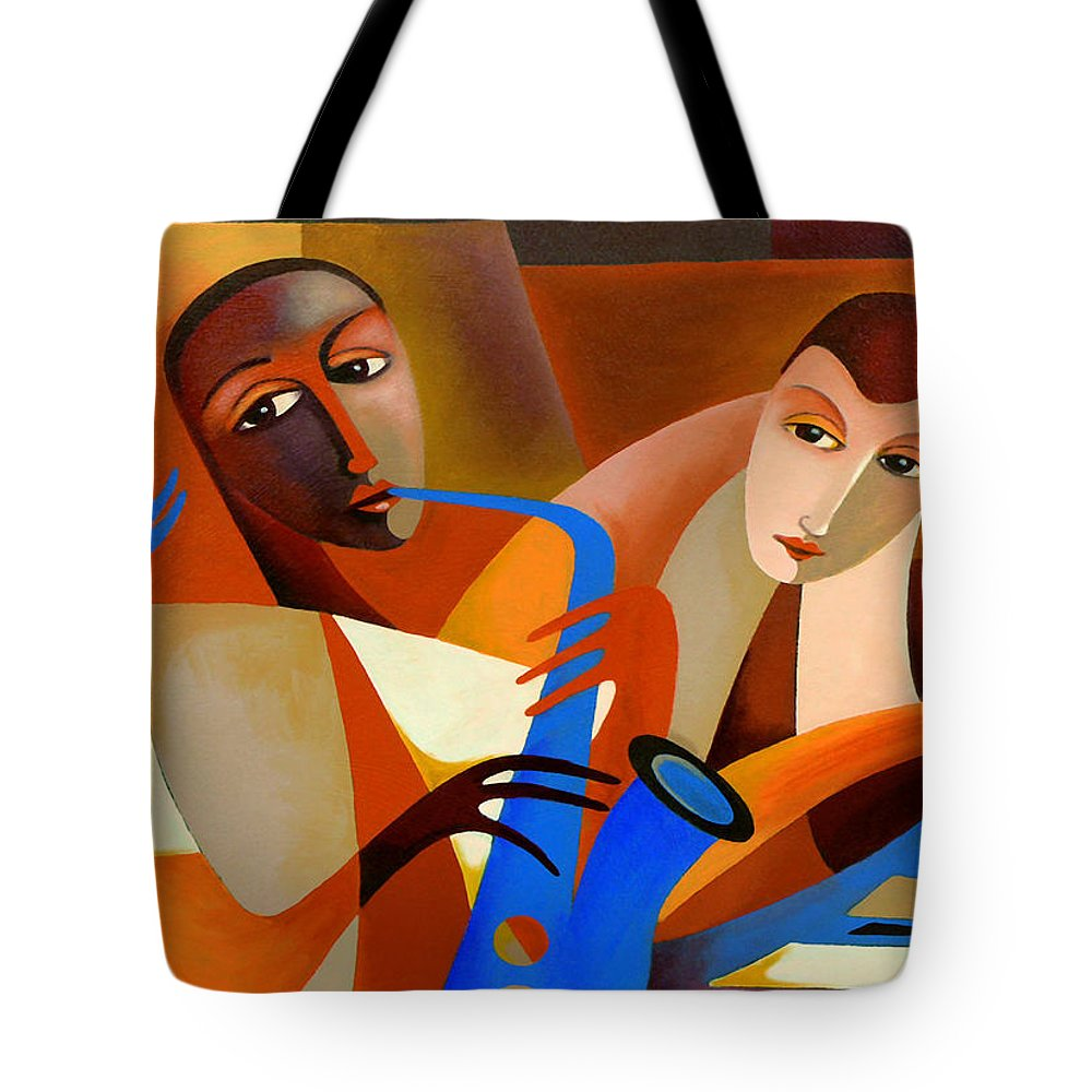 Ornithology Tote Bag featuring the painting Ornithology - Charlie Parker With Dodo Marmarosa 1946 by Thomas Andersen