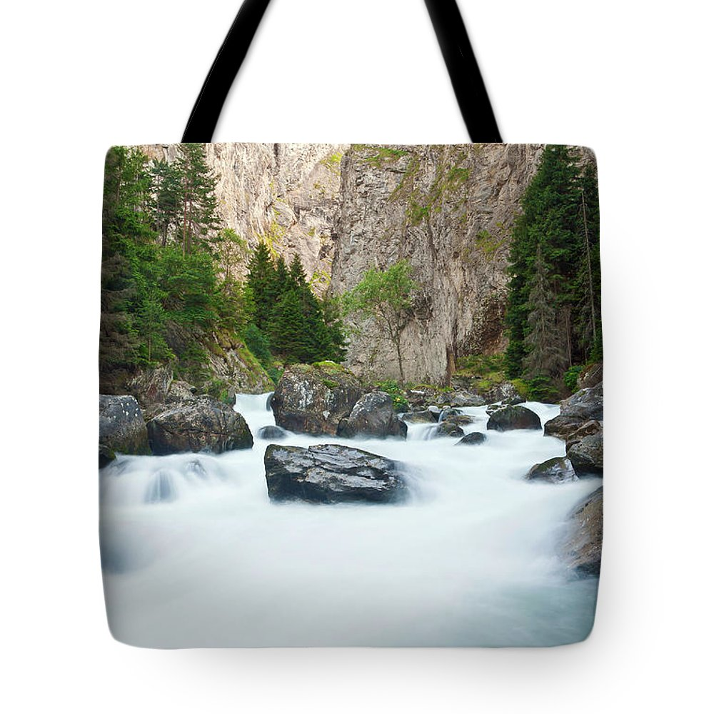 Alps Tote Bag featuring the photograph Orrido In Pre Saint Didier by Antonio Scarpi