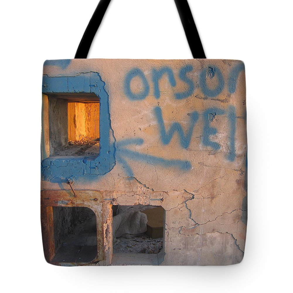 Orson Welles Depository Eleven Mile Corner Arizona 2004 Tote Bag featuring the photograph Orson Welles Depository Eleven Mile Corner Arizona 2004 by David Lee Guss
