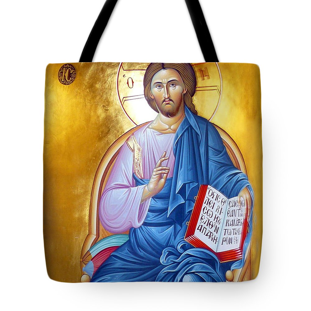 Orthodox Tote Bag featuring the painting Orthodox Icon Of Jesus In Blue by Munir Alawi