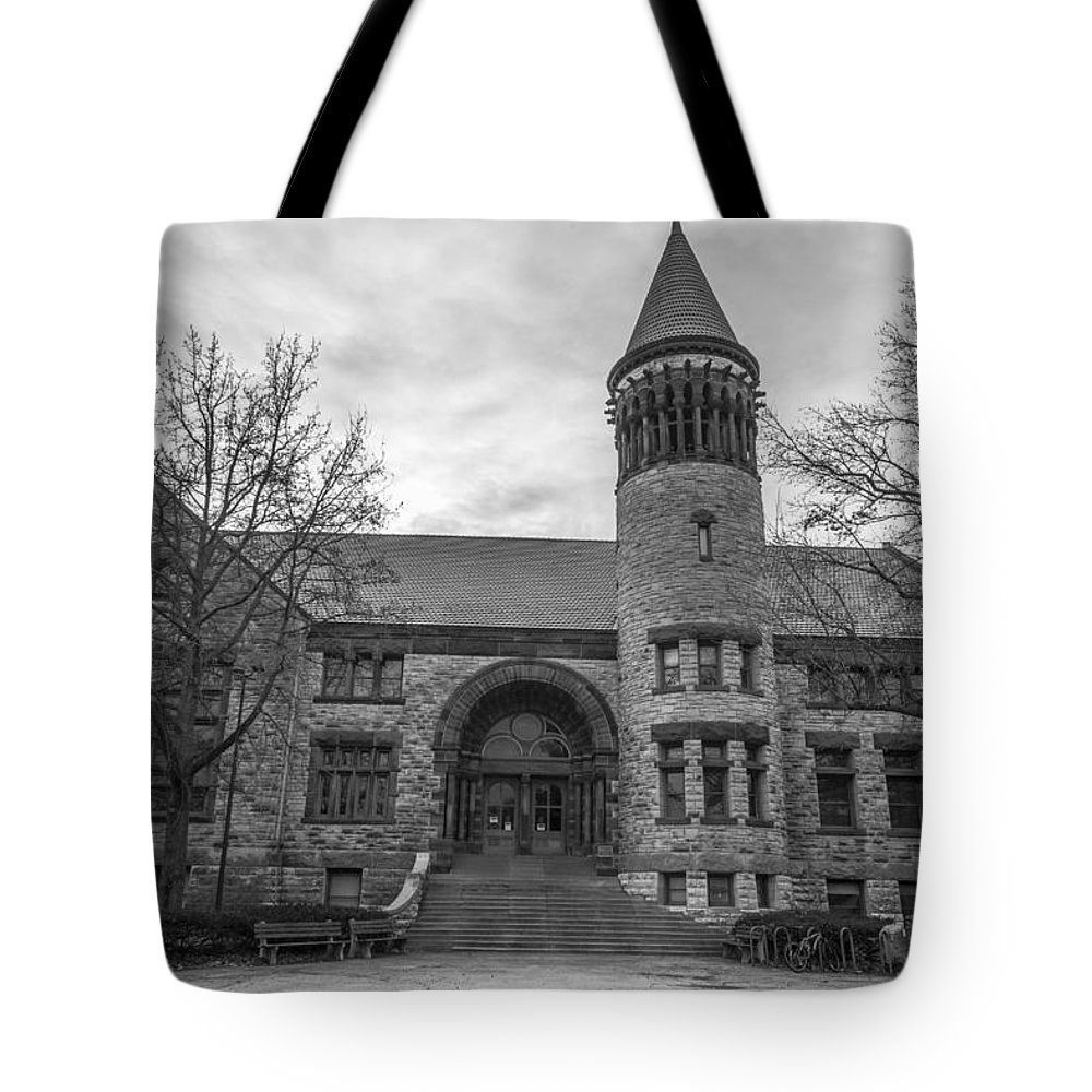 Ohio State University Tote Bag featuring the photograph Orton Hall Osu Black And White by John McGraw