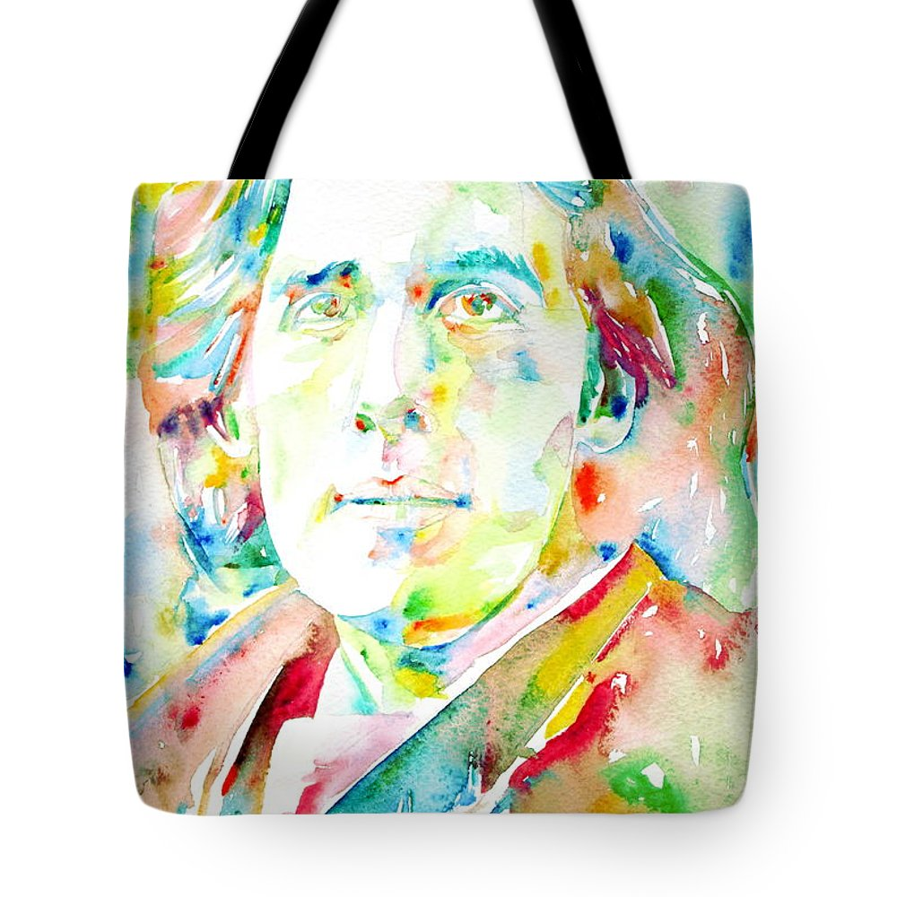 Oscar Tote Bag featuring the painting Oscar Wilde Watercolor Portrait.1 by Fabrizio Cassetta