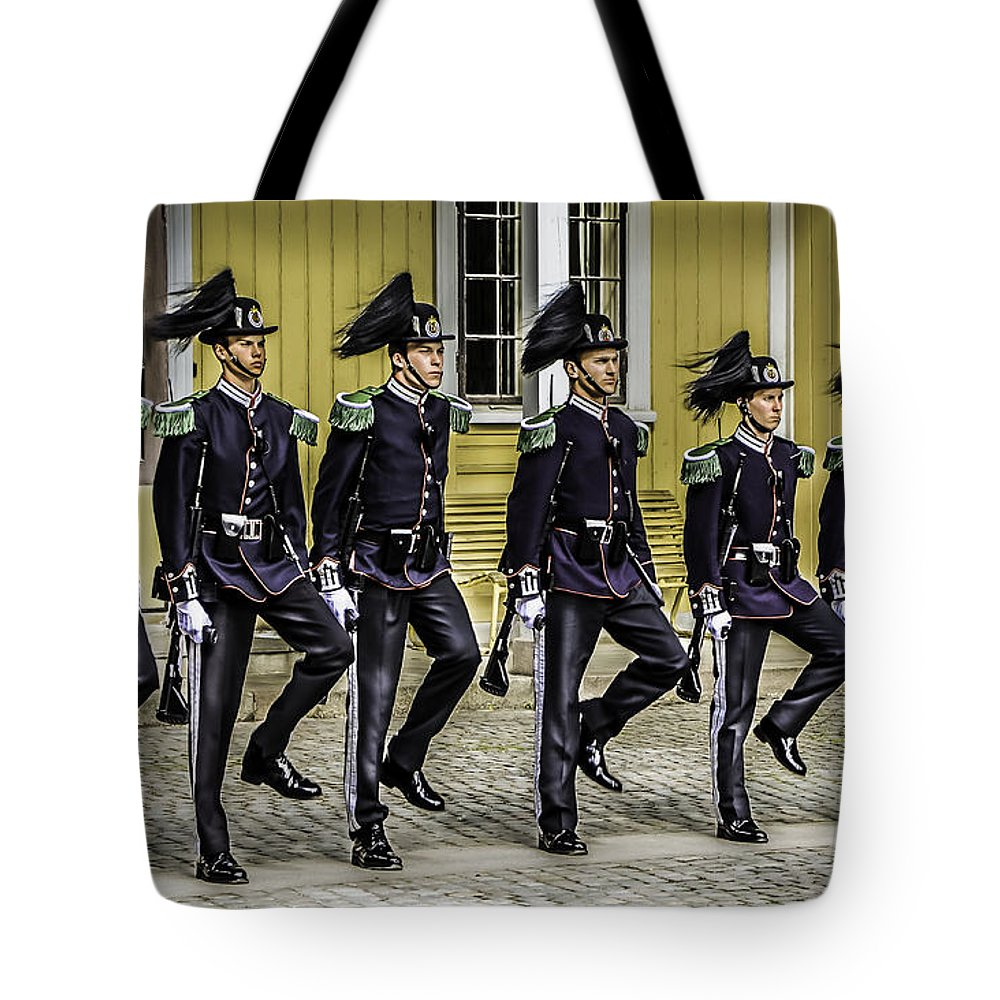 Oslo Tote Bag featuring the photograph Oslo Royal Palace Guards by John Jack