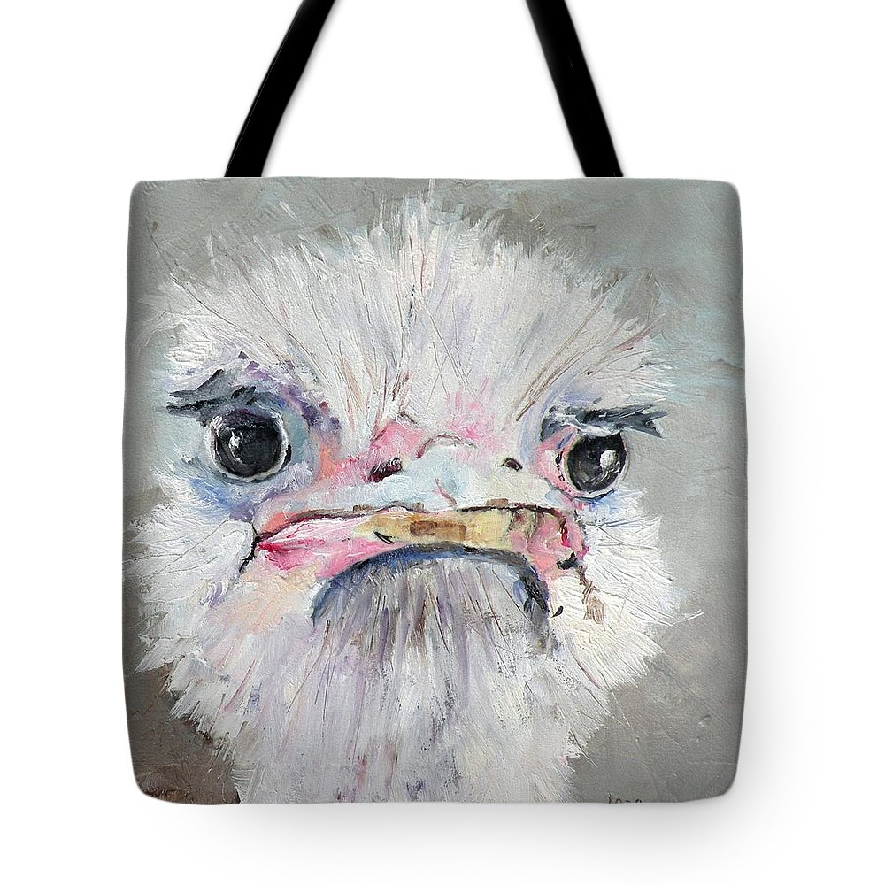 Ostrich Paintings Tote Bag featuring the painting Ossie by Saundra Lane Galloway