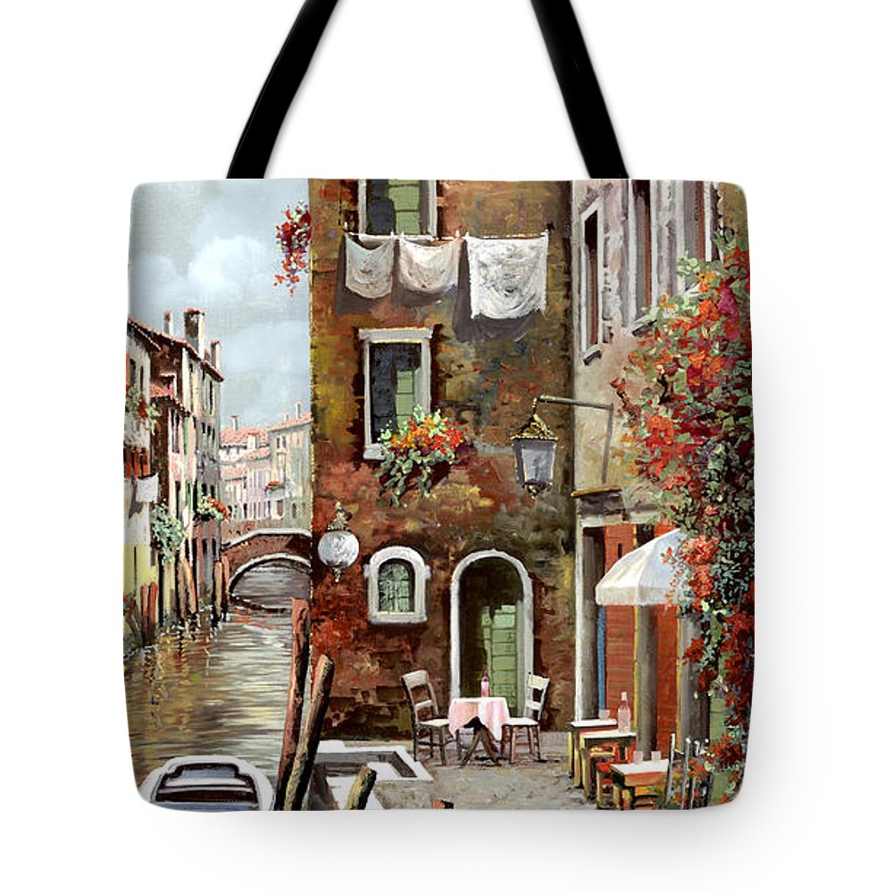 Venice Tote Bag featuring the painting Osteria Sul Canale by Guido Borelli