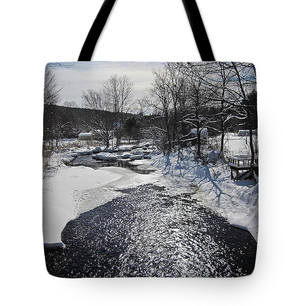Snow Tote Bag featuring the photograph Otter Brook Scene by MTBobbins Photography