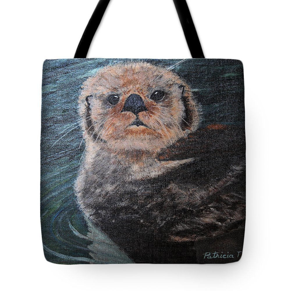 Otters Tote Bag featuring the painting Ottertude by Patricia Novack