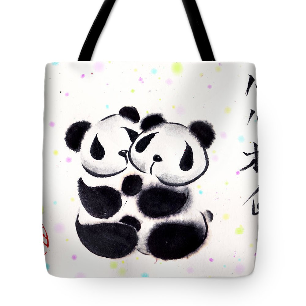 Panda Tote Bag featuring the painting Our Hearts Are Sealed by Oiyee At Oystudio