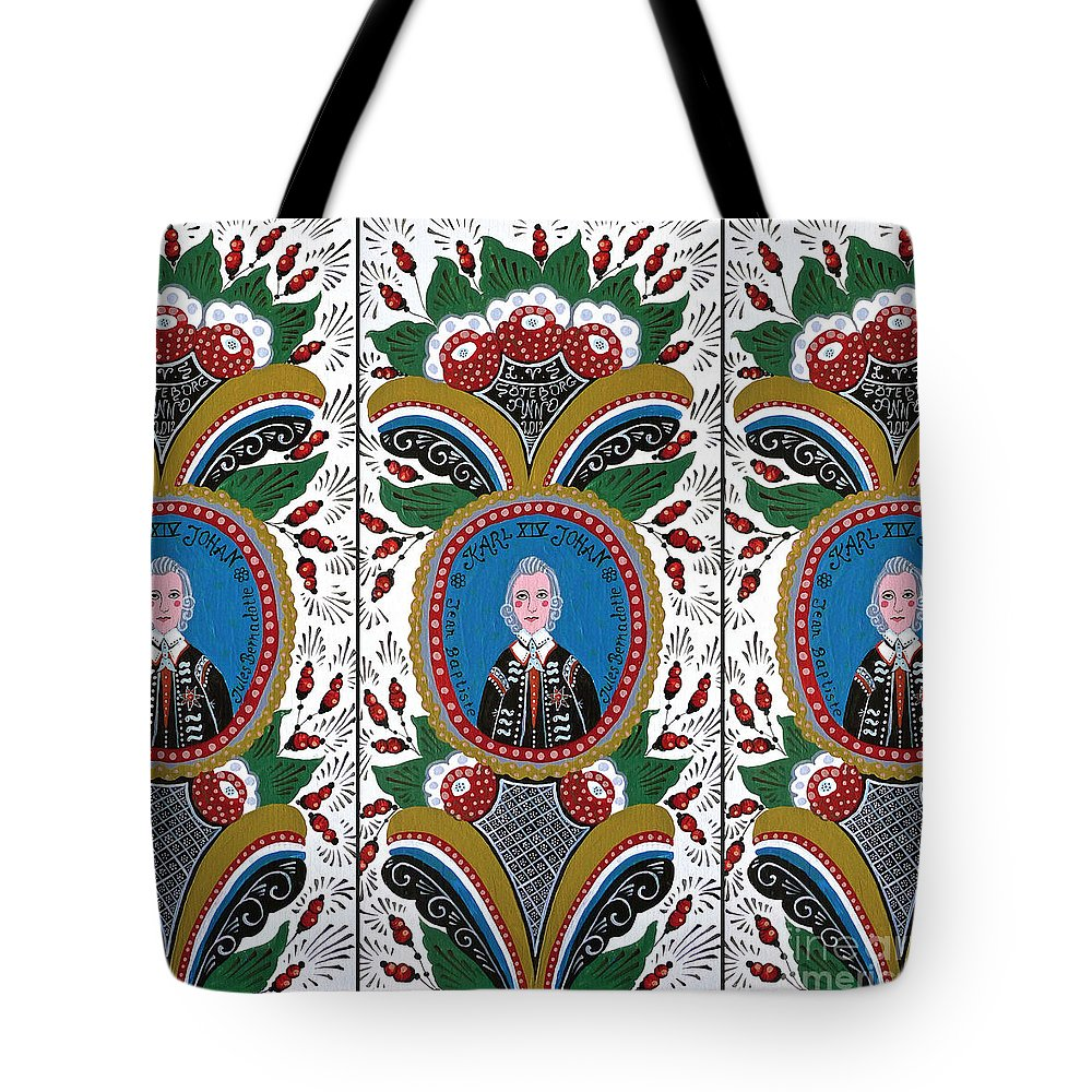 Swedish Folk Art Tote Bag featuring the painting Our King by Leif Sodergren