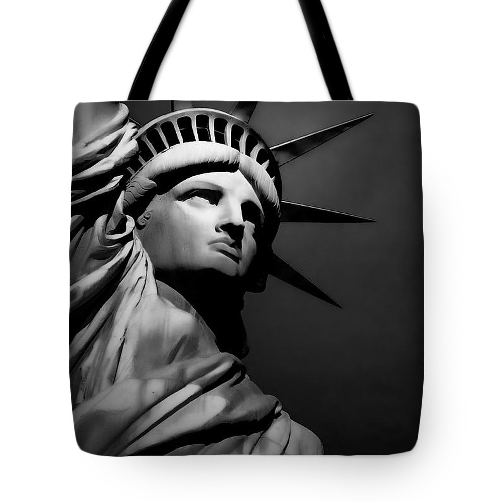 Statue Tote Bag featuring the photograph Our Lady Liberty In B/w by Dyle  Warren