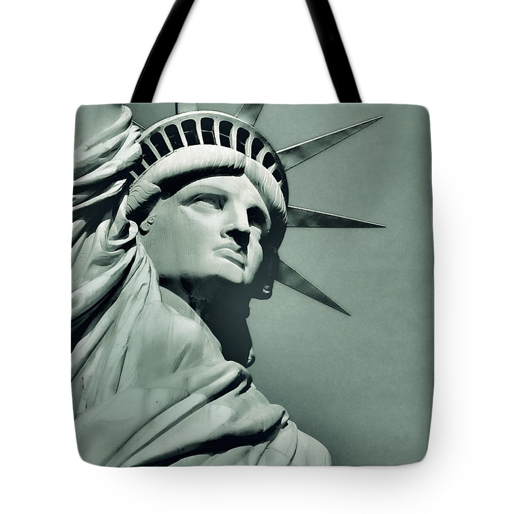 Statue Tote Bag featuring the photograph Our Lady Liberty - Verdigris Tone by Dyle  Warren